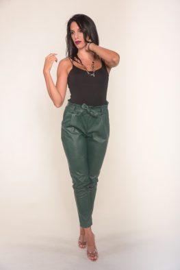 Παντελόνι γυναικείο δερμάτινο ψηλόμεσο με ζώνη