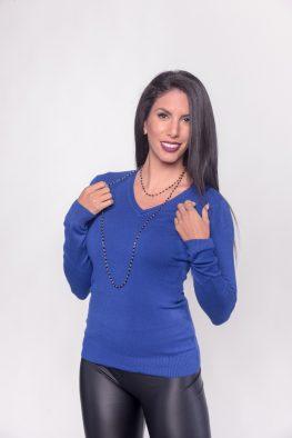 Γυναικείο πλεκτό πουλόβερ με V λαιμόκοψη