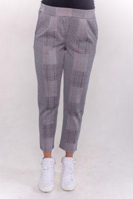 Παντελόνι καρό γκρι με κόκκινη γραμμή
