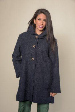 Γυναικείο παλτό με κουκούλα και τσέπες