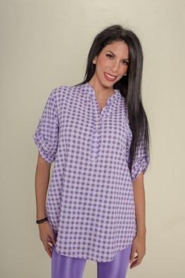 Γυναικεία μπλούζα τύπου πουκάμισο σε καρό
