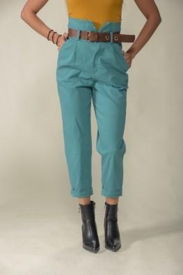 Γυναικείο παντελόνι ψηλόμεσο μονόχρωμο με ζώνη