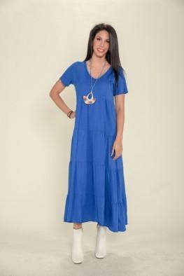 Φόρεμα maxi κοντομάνικο μονόχρωμο με βολάν