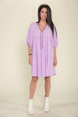 Φόρεμα mini κοντομάνικο μονόχρωμο με βολάν