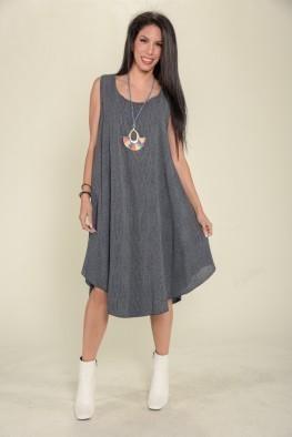 Φόρεμα ριγέ ριχτό σε άλφα γραμμή