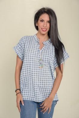 Γυναικεία μπλούζα κοντομάνικη σε καρό