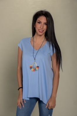 Γυναικεία μπλούζα με V λαιμόκοψη μονόχρωμη
