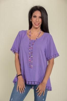 Γυναικεία μπλούζα με δαντέλα στο τελείωμα