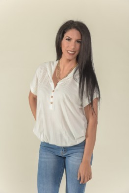 Μπλούζα με V κουκούλα και κουμπιά